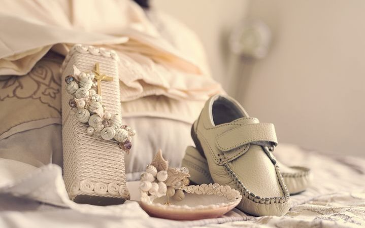 Shoes and dress for christening